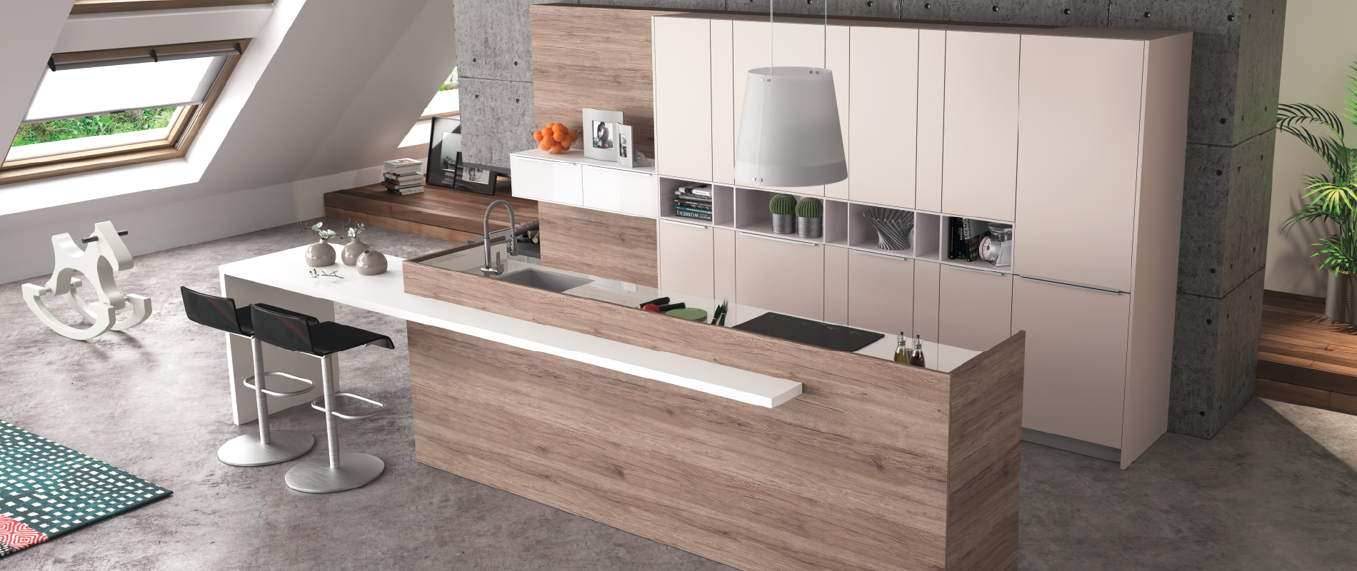 Cuisine contemporaine zaho alicante d cor bois haut de for Cuisines contemporaines design