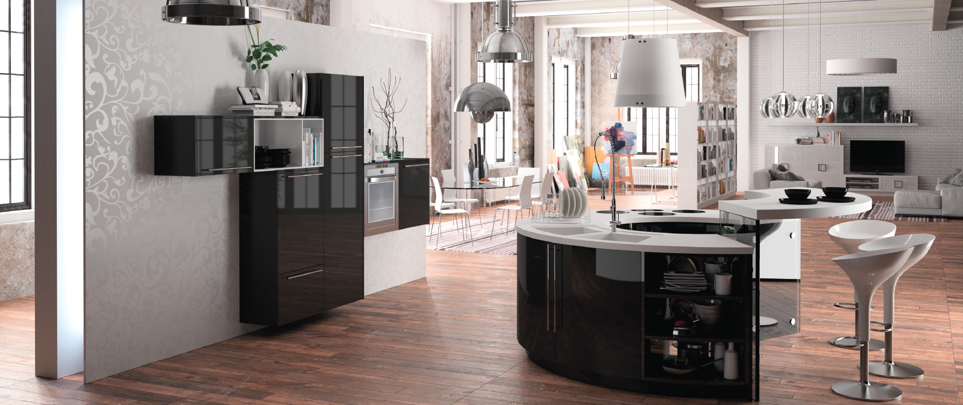 belle cuisine design ronde alicante 5 haut de gamme sur mesure. Black Bedroom Furniture Sets. Home Design Ideas