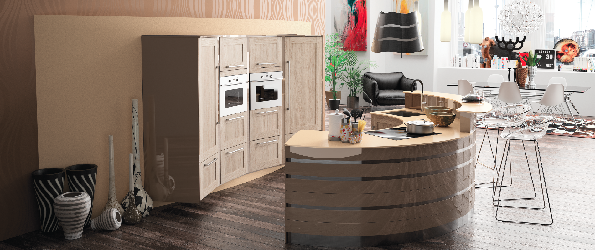 Modele de cuisine americaine avec bar for Cuisine contemporaine design