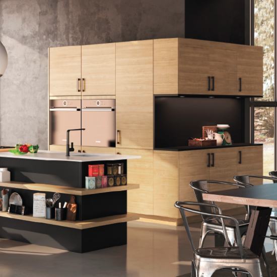 cuisine noire bois cuisine noire et bois black and wood kitchen soul inside cuisine frigo noir. Black Bedroom Furniture Sets. Home Design Ideas