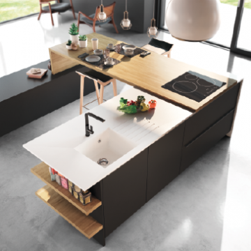 Cuisine contemporaine d cor bois gaia zenit haut de for Modele cuisine bois