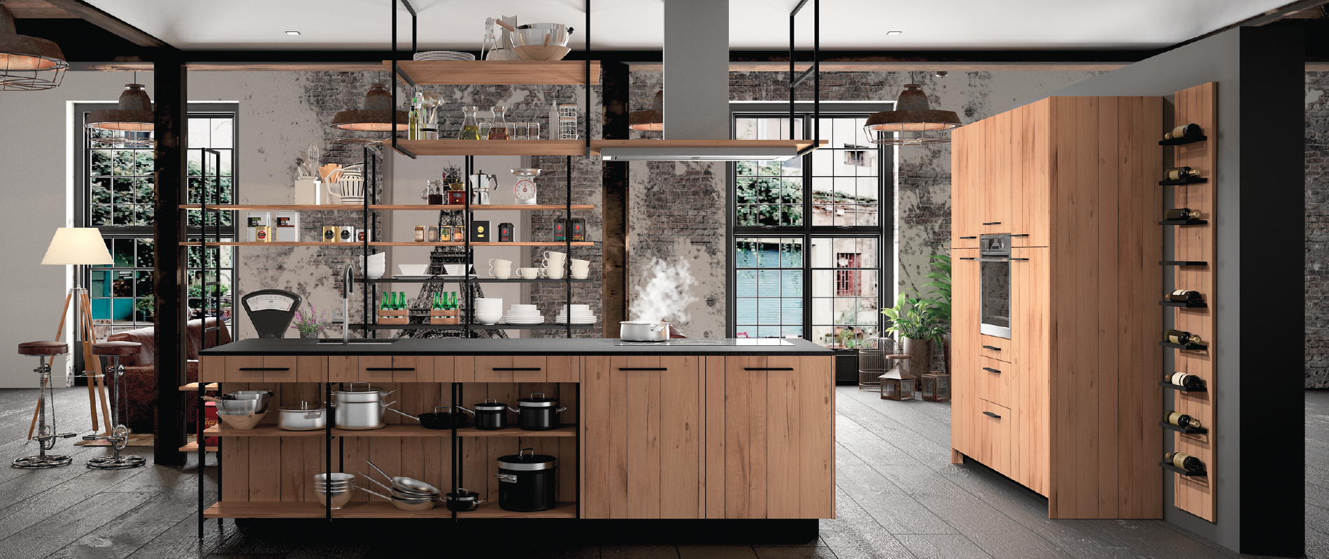Esquisse design ind cuisines morel for Comcuisine style atelier industriel