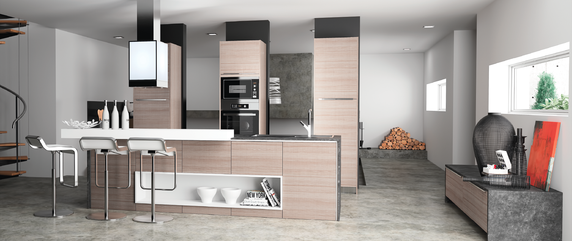 cuisine contemporaine de qualit monza 2 haut de gamme. Black Bedroom Furniture Sets. Home Design Ideas