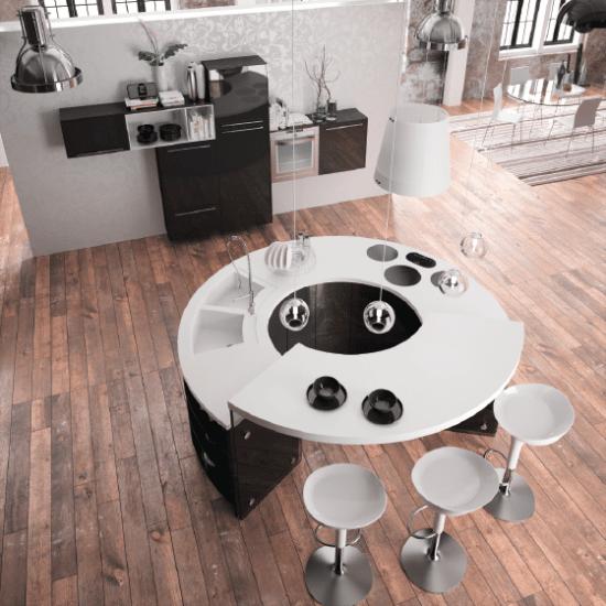 Vue haut Table Cuisine design, haut de gamme et ronde. Sur-mesure en noire avec bar
