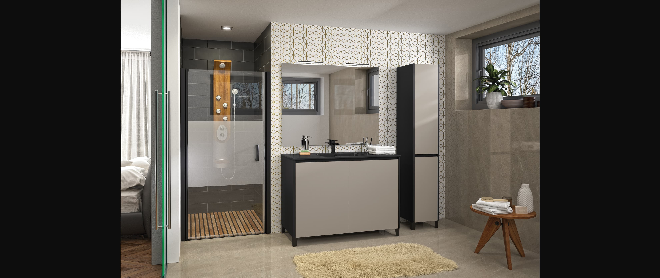salle de bains zaho truffe mat gris moderne épuré haut de gamme