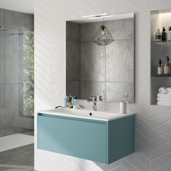 salle de bains zaho bleu nuage mat moderne épuré